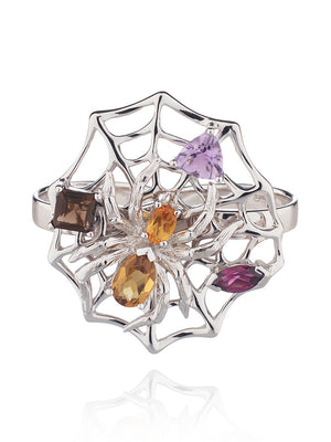 Anansi  Silver Maxi Ring With Cognac, Citrine, Amethyst, Smoky Quartz and Rhodolite