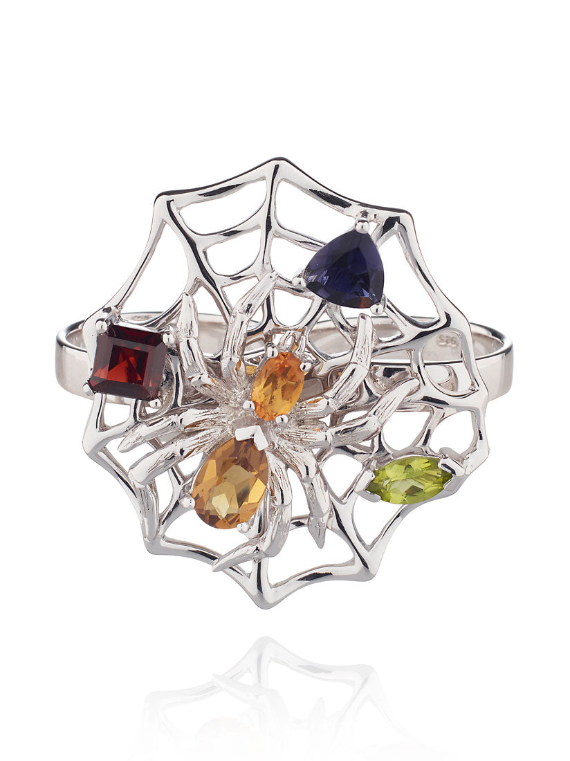 Anansi  Silver Maxi Ring With Cognac, Citrine, Garnet,  Peridot and Iolite