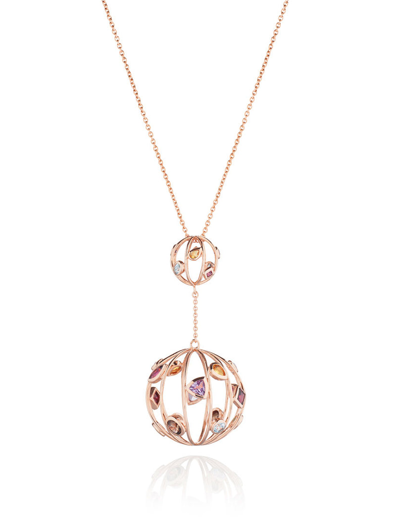 Divotra Rose Gold Pendant with Blue Topaz  Amethyst Rhodolite Smoky Quartz Lemon Quartz And Citrine