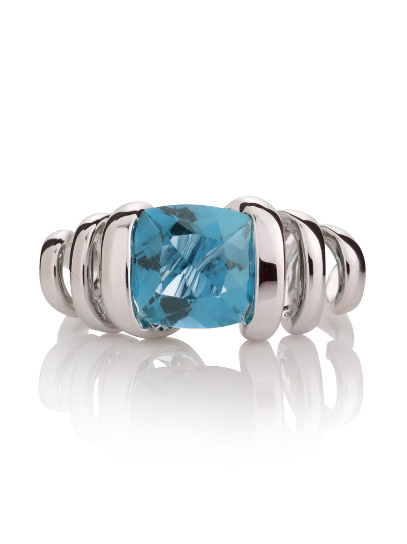 Eternal Silver Ring with Blue topaz Stone Silver