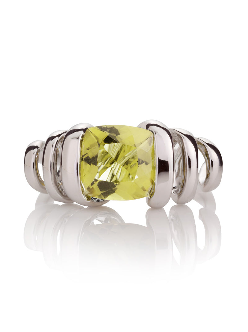Eternal Silver Ring with Lemon Quartz Stone
