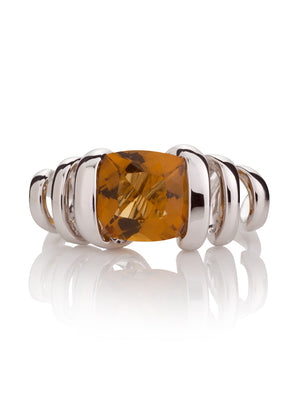 Eternal  Silver Ring with Cognac Quartz Stone