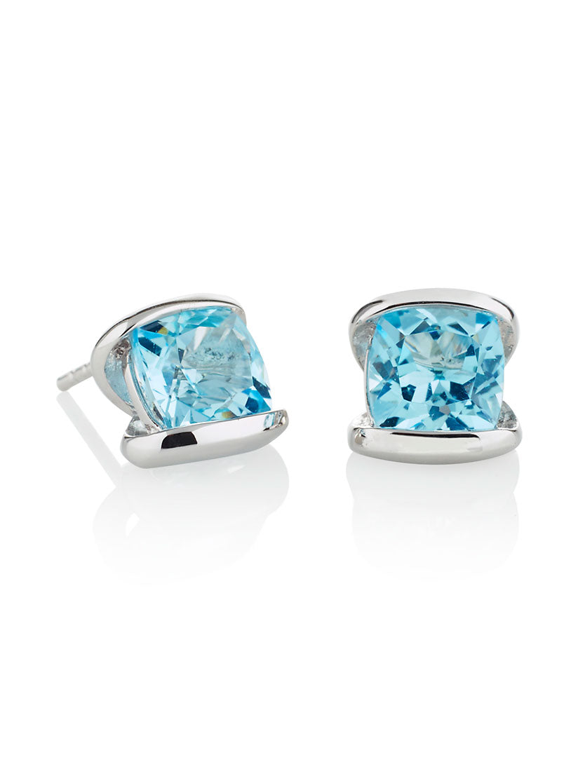 Infinity Silver Earrings With Blue topaz