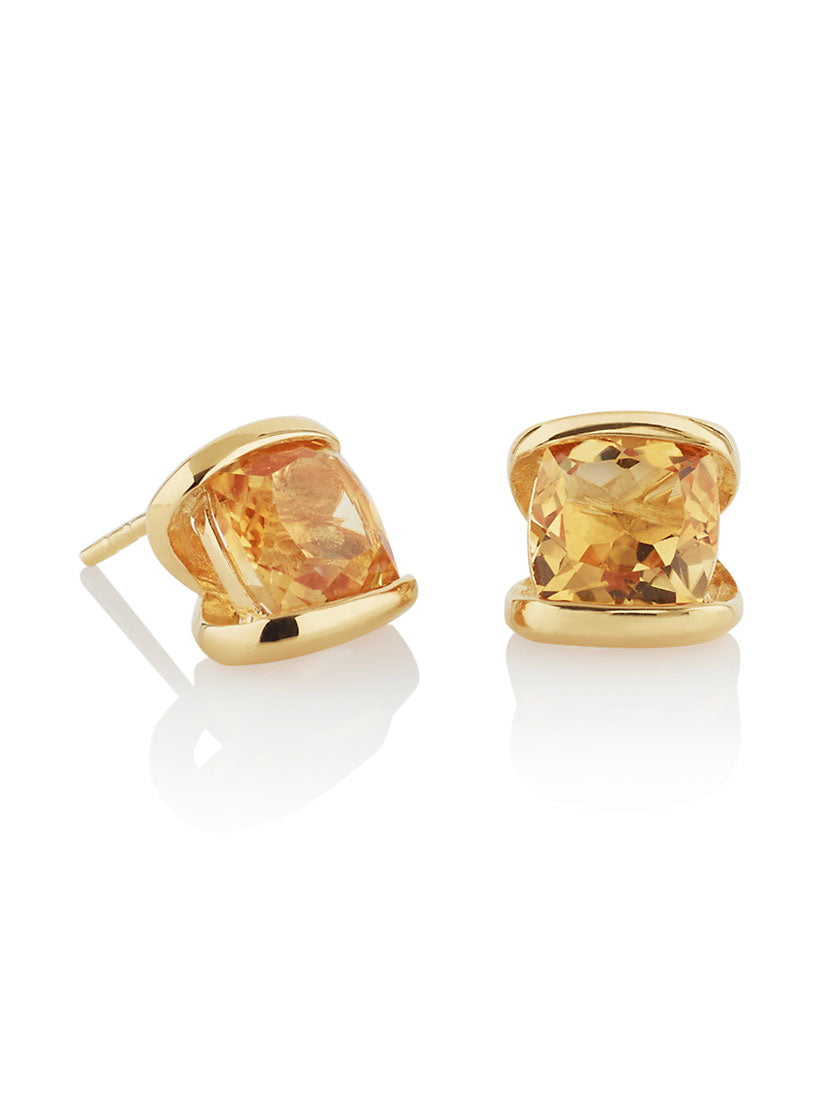 Infinity Gold Earrings With Citrine