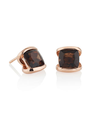 Infinity Rose Gold Earrings With Smoky Quartz