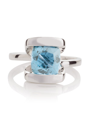 Infinity Silver Ring With Blue topaz