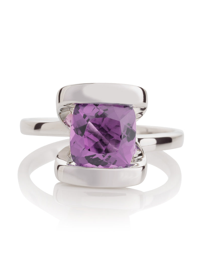 Infinity Silver Ring With Amethyst