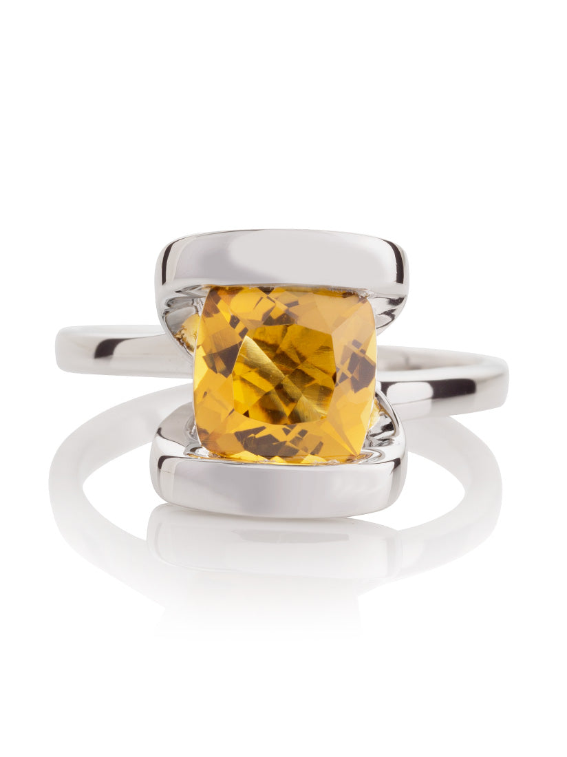 Infinity Silver Ring With Citrine