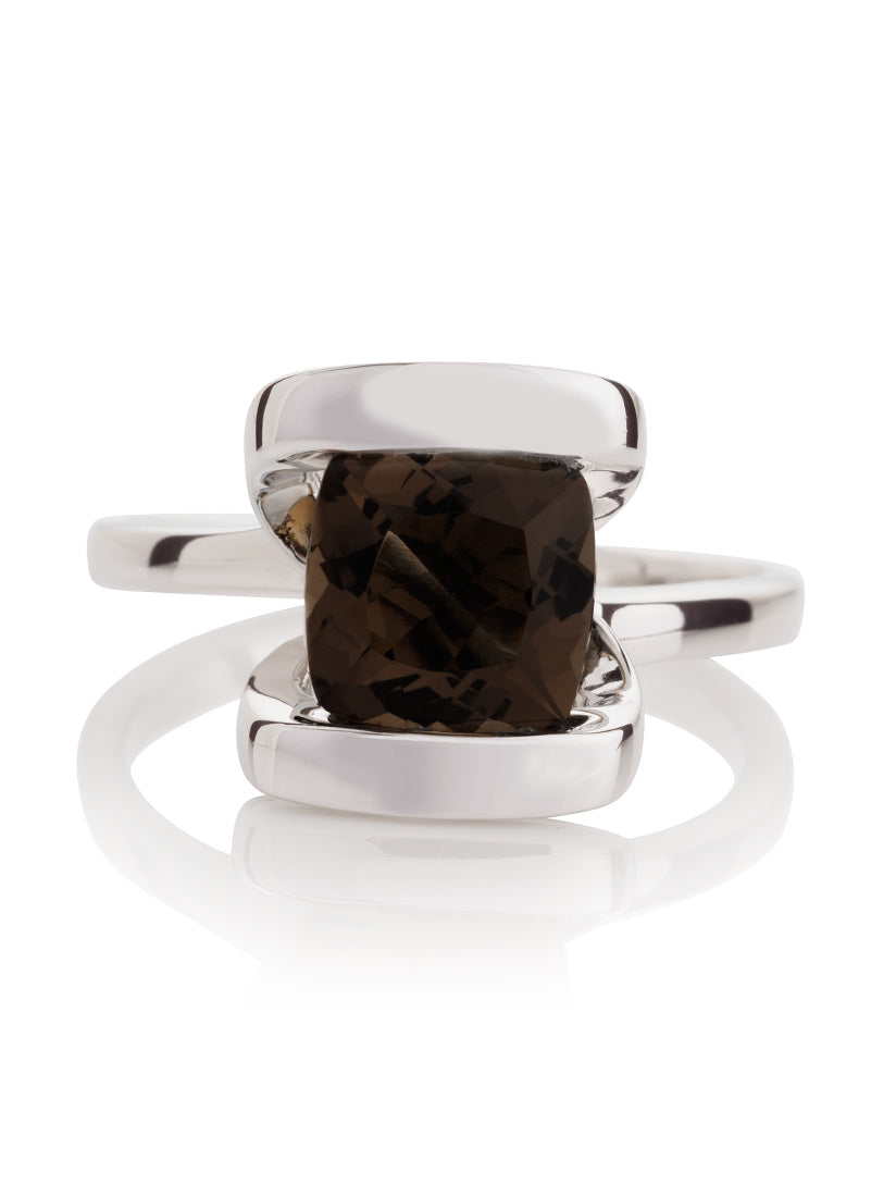 Infinity Silver Ring With Smoky Quartz