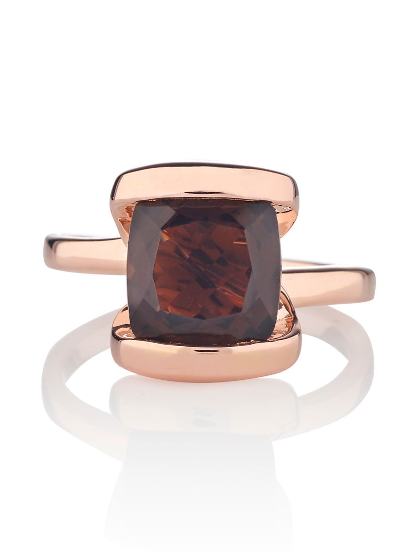 Infinity Rose Gold Ring With Amethyst