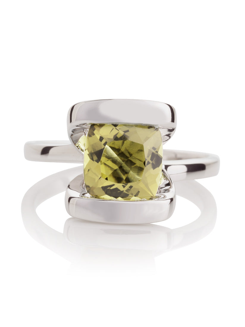 Infinity Silver Ring With Lemon Quartz