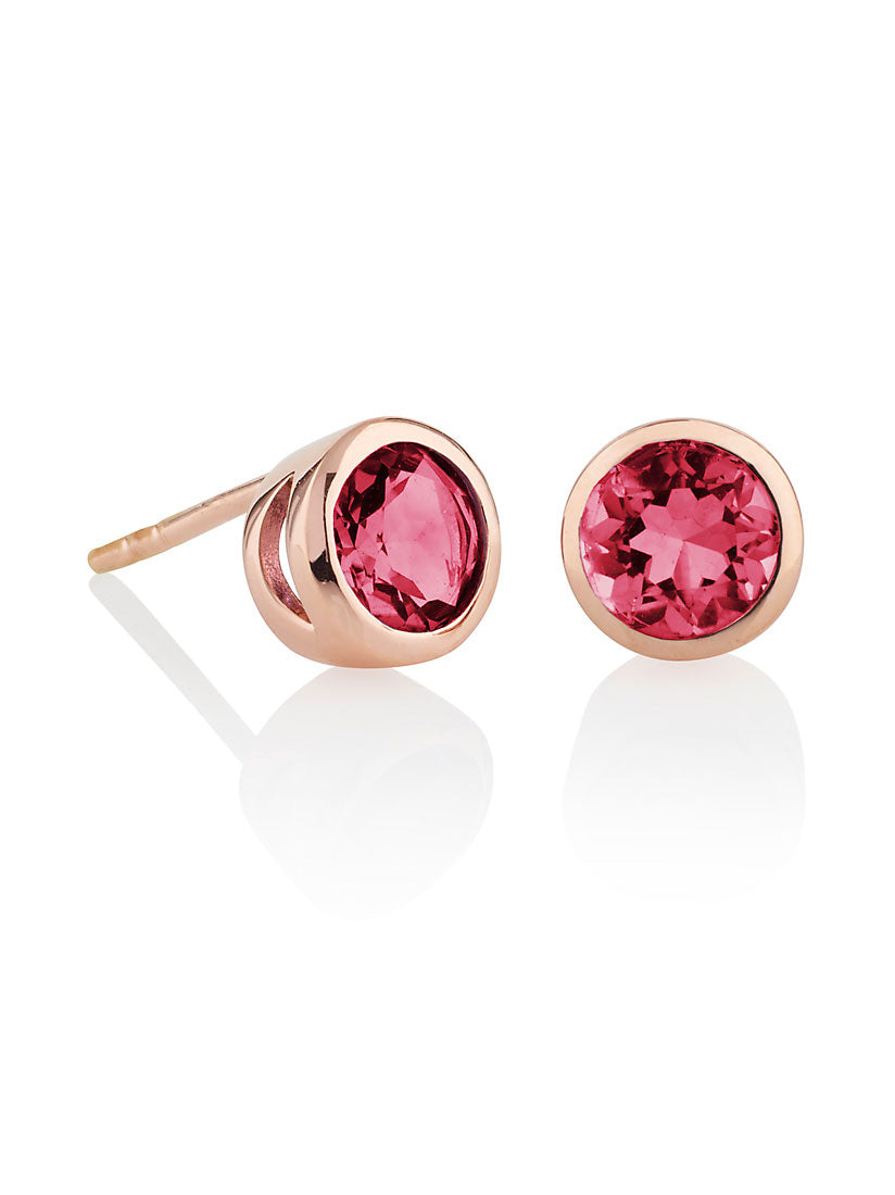 Juliet Rose Gold Earrings With Rhodolite