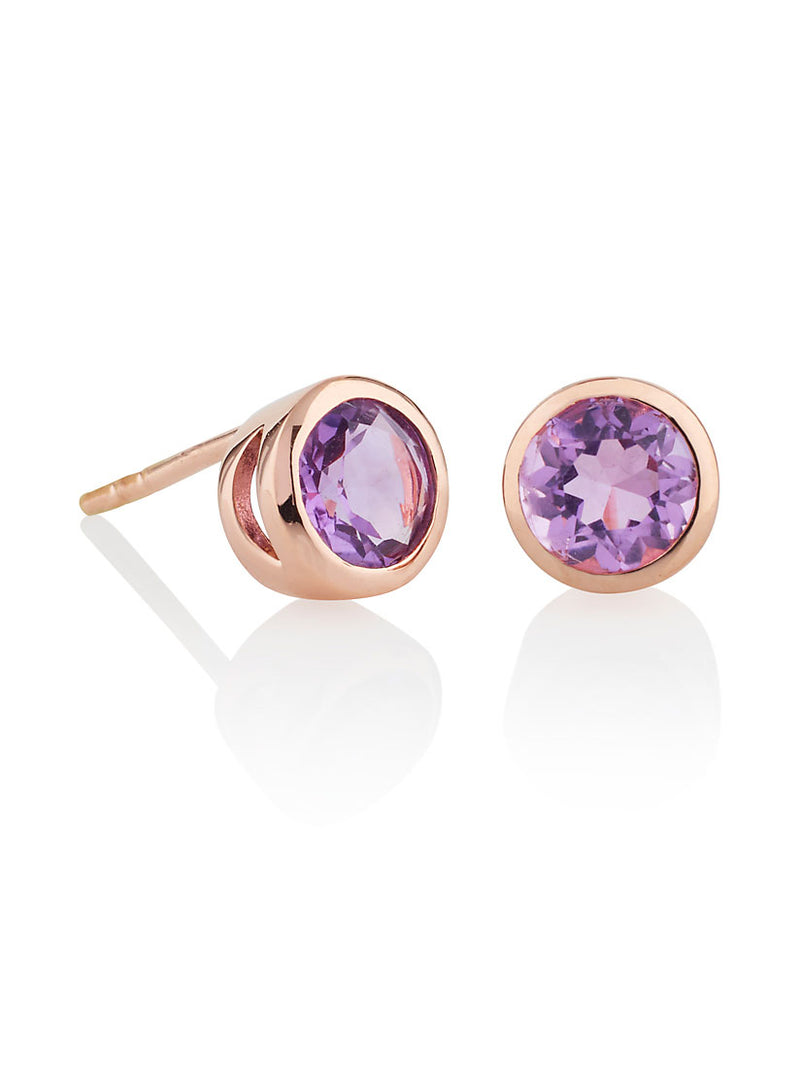 Juliet Rose Gold Earrings With Amethyst