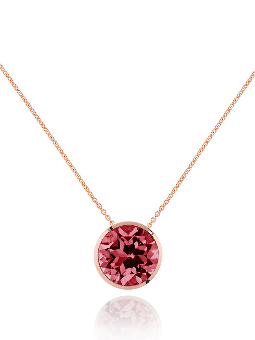 Juliet Rose Gold Necklace With Rhodolite