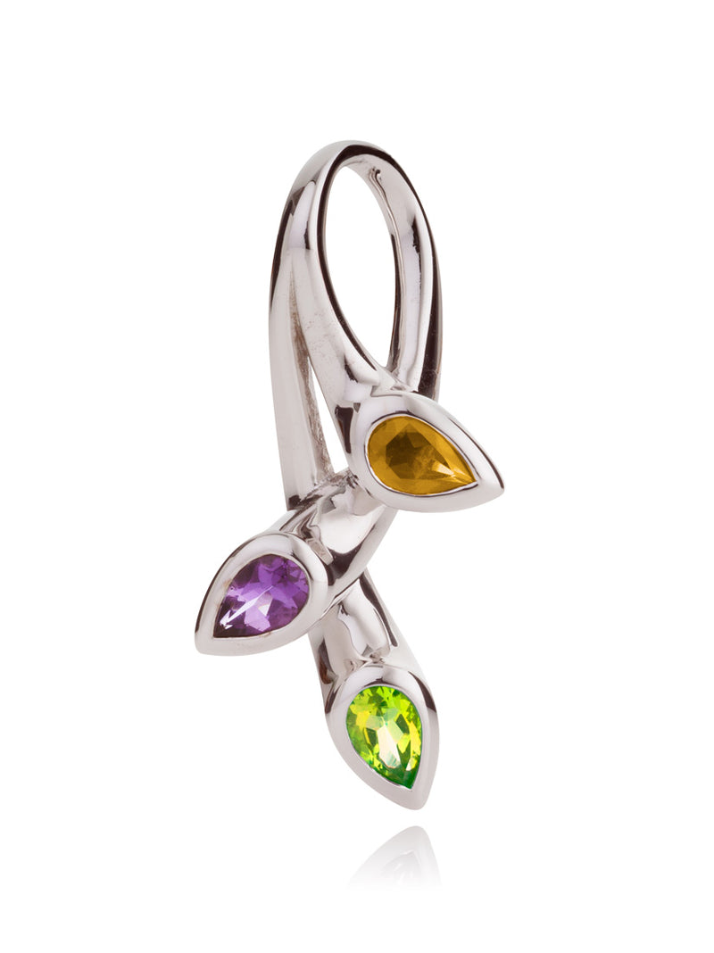 Kazo Silver Pendant With Peridot, Citrine and Amethyst