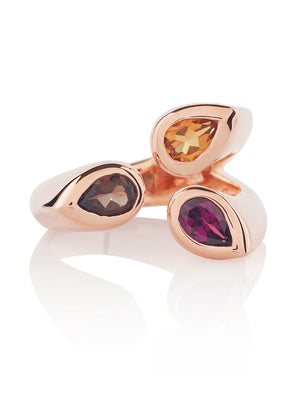 Kazo Rose Gold Ring With Smoky Quartz, Citrine and Rhodolite