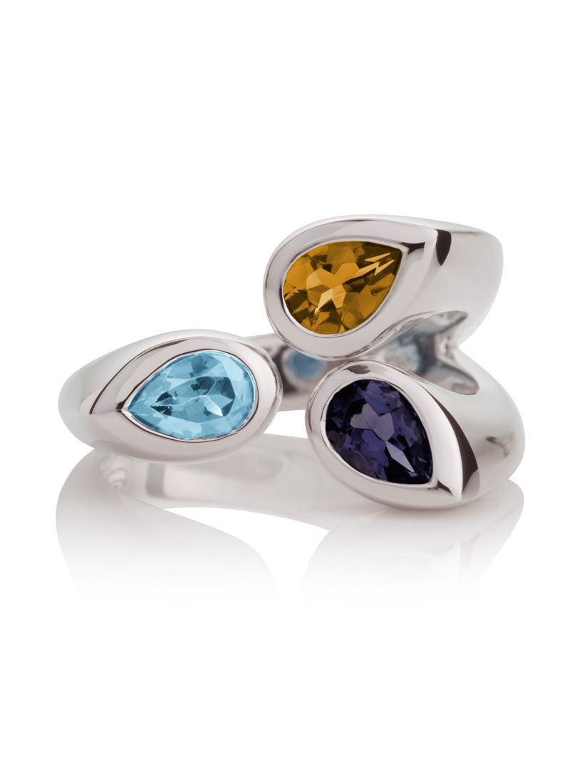Kazo Silver Ring With Iolite, Blue Topaz and Citrine