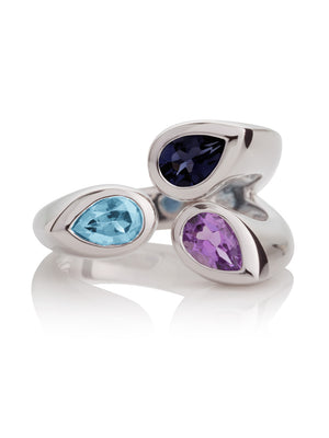 Kazo Silver Ring With Amethyst, Blue Topaz and Iolite