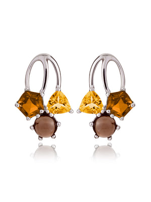 Kintana Silver Earrings With Citrine, Cognac Quartz and Smoky Quartz