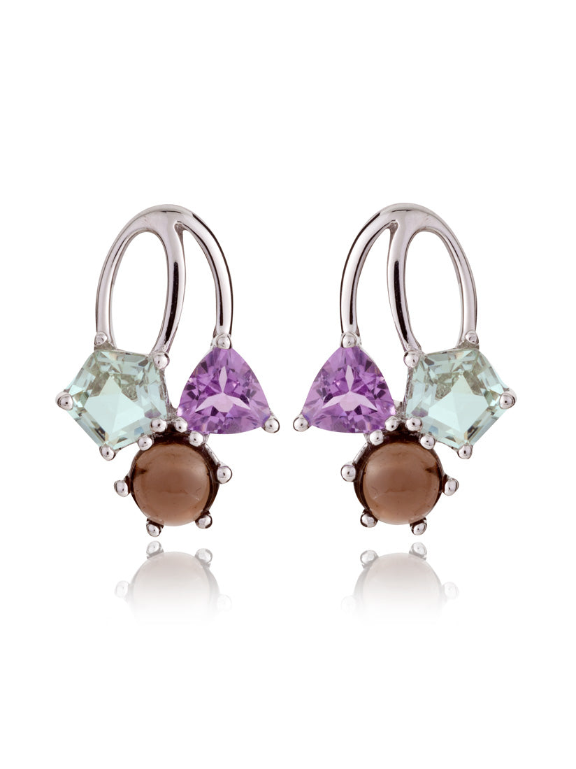 Kintana Silver Earrings With Green Amethyst, Amethyst and Smoky Quartz