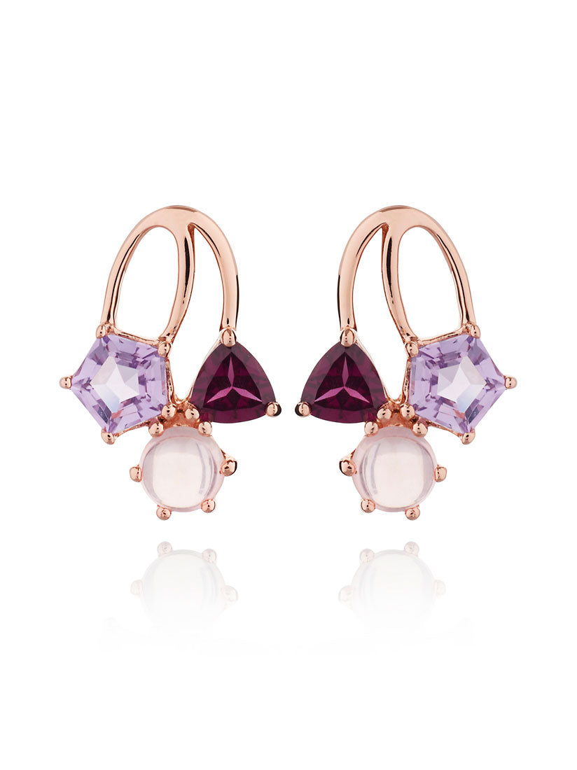Kintana Rose Gold Earrings With Amethyst, Rhodolite and Rose Quartz
