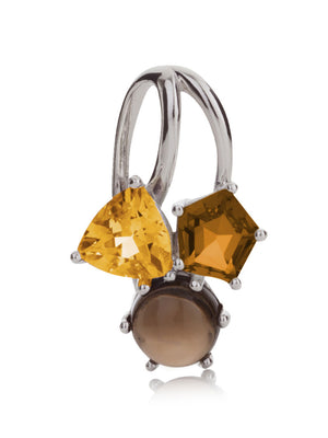 Kintana Silver Pendant With Citrine, Cognac Quartz and Smoky Quartz