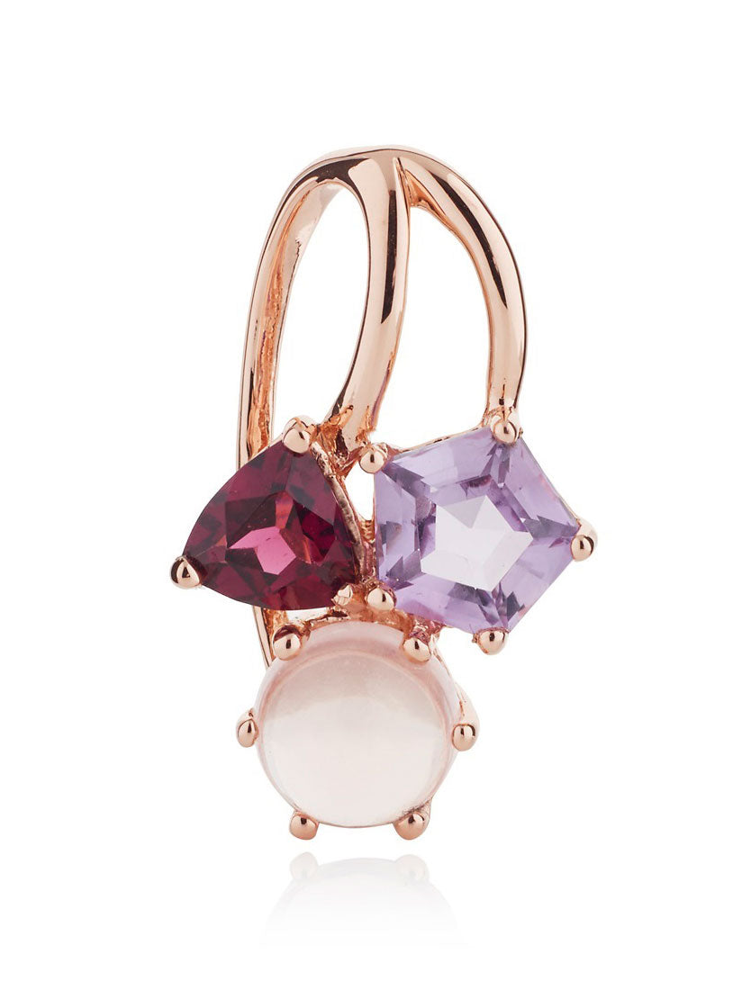 Kintana Rose Gold Pendant With Amethyst, Rhodolite and Rose Quartz