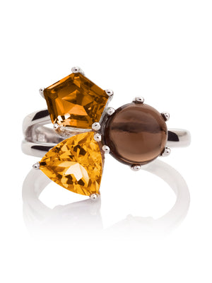Kintana Silver Ring With Citrine, Cognac Quartz and Smoky Quartz