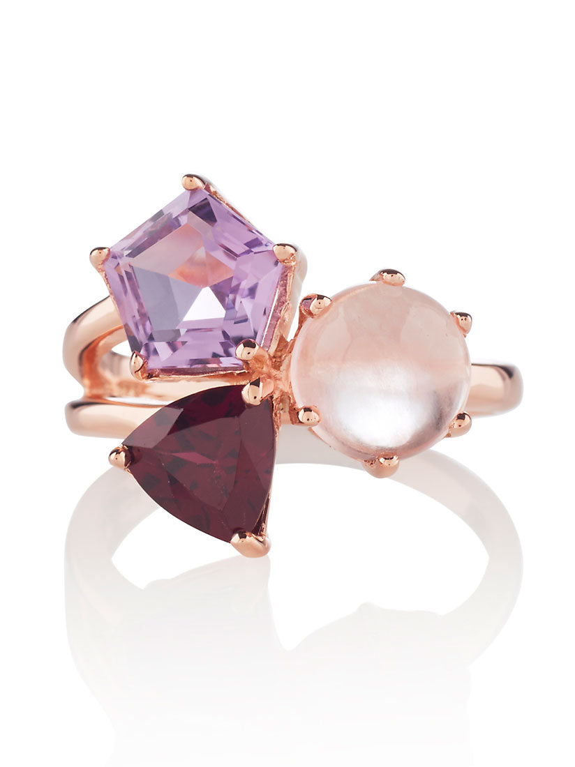 Kintana Rose Gold Ring With Amethyst, Rhodolite and Rose Quartz