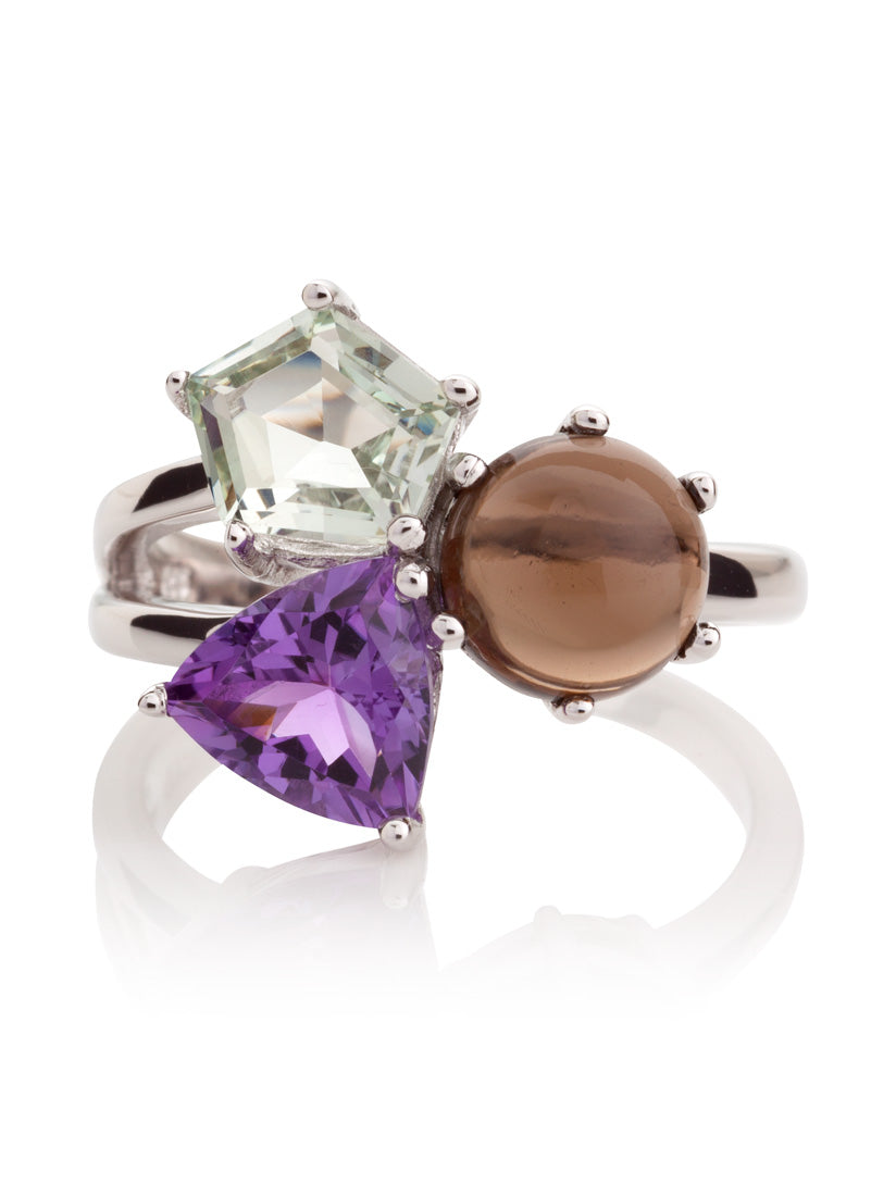 Kintana Silver Ring With Green Amethyst, Amethyst and Smoky Quartz