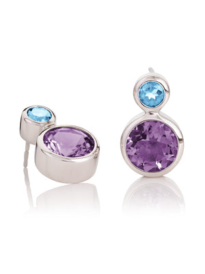 Lana Silver Earrings With Amethyst and Blue Topaz