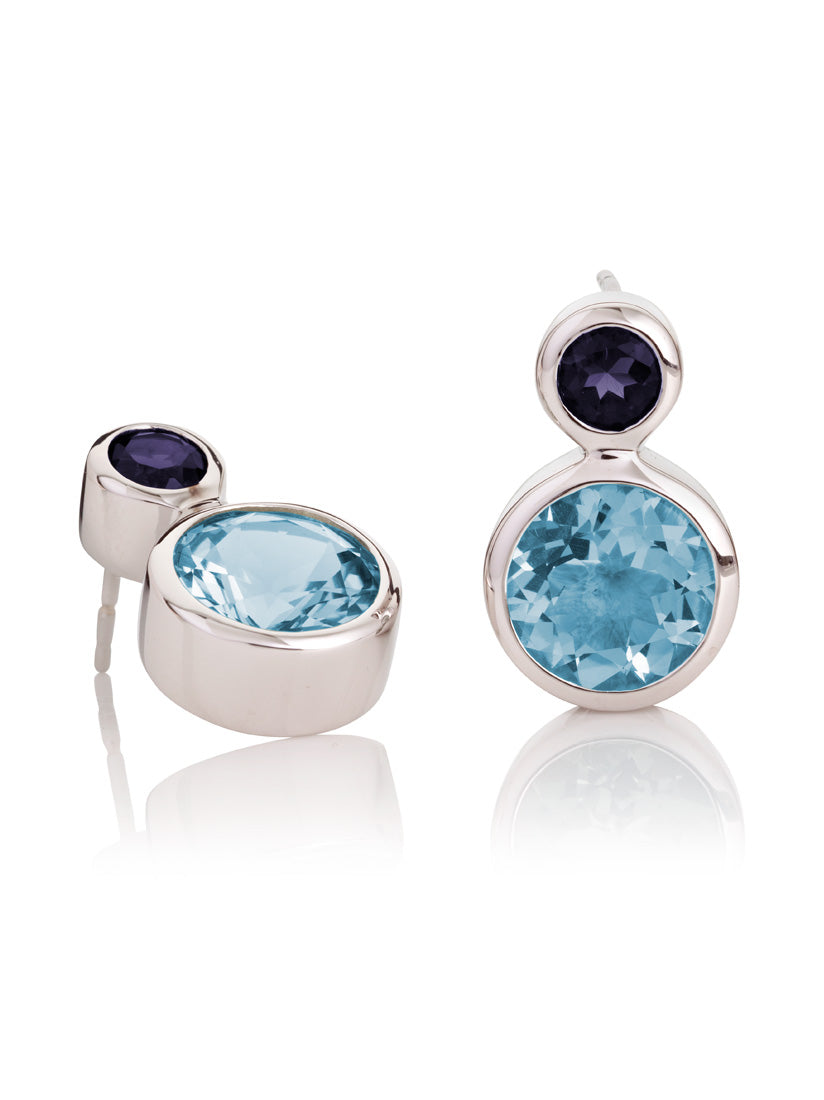 Lana Silver Earrings With Blue Topaz And Iolite