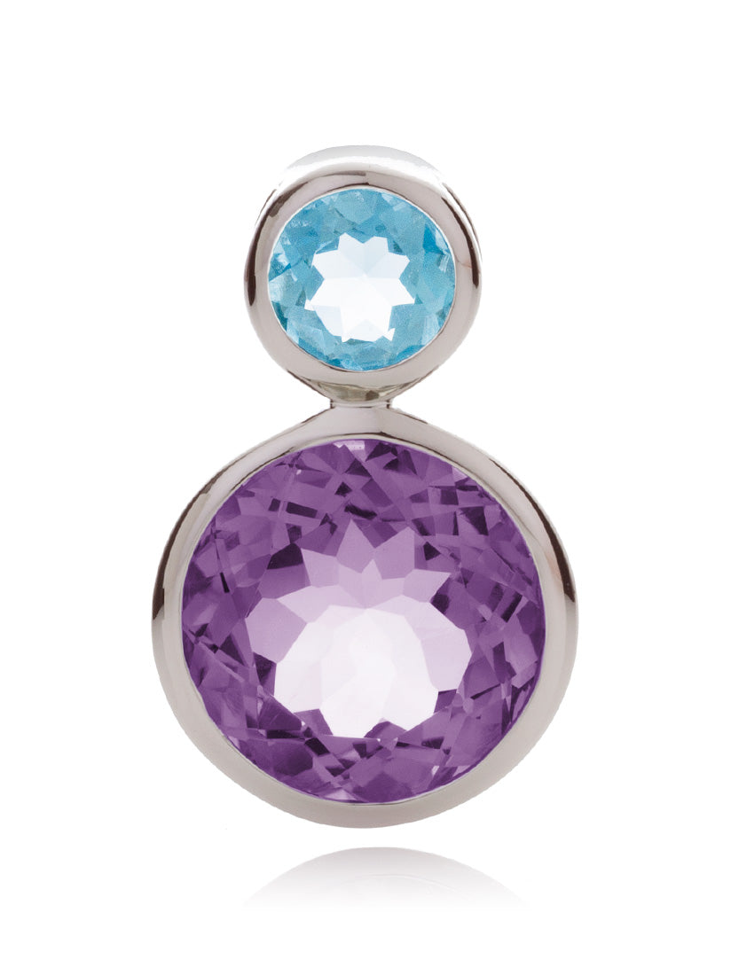 Lana Silver Pendant with Amethyst And Blue Topaz
