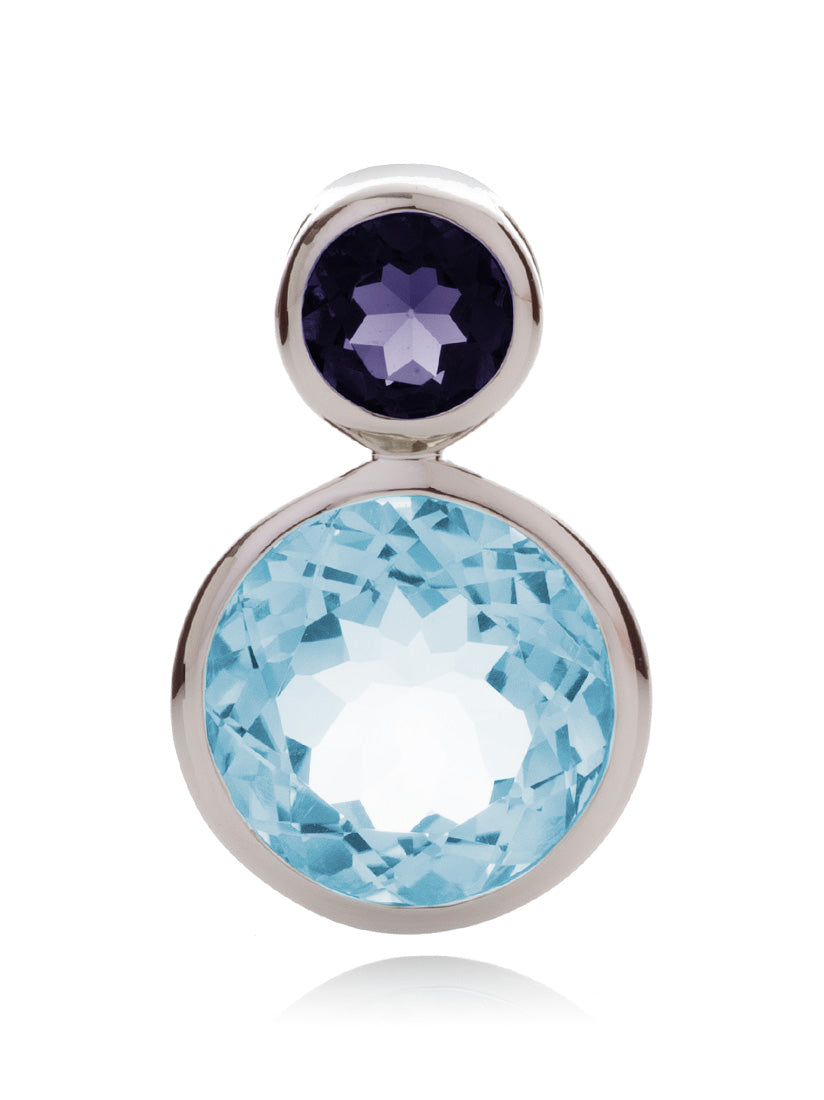 Lana Silver Pendant with Blue Topaz And Iolite