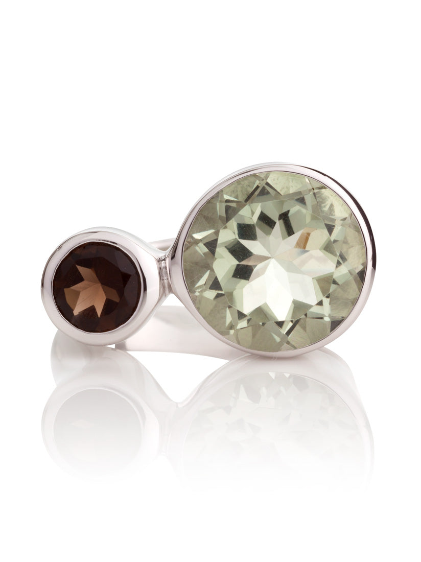 Lana Silver Ring with Green Amethyst And Smoky Quartz