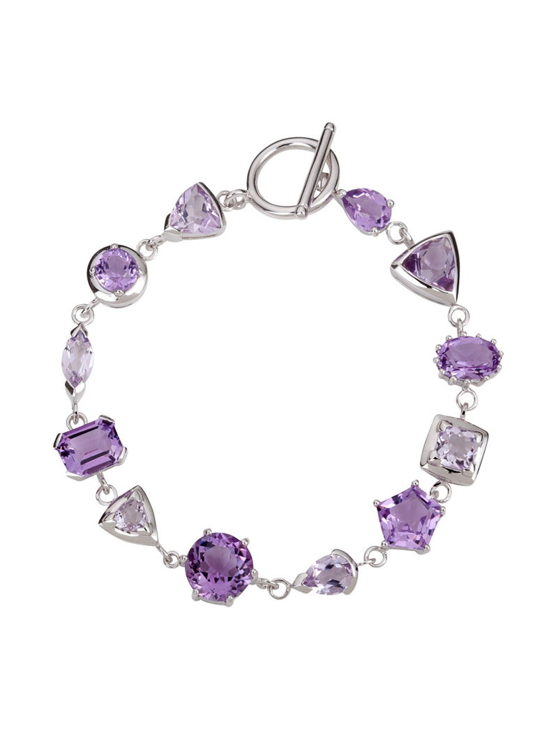 Lanitra Silver Bracelet With Amethyst and Rose de France Citrine