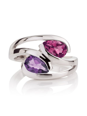 Love Birds Silver Ring With Amethyst And Rhodolite