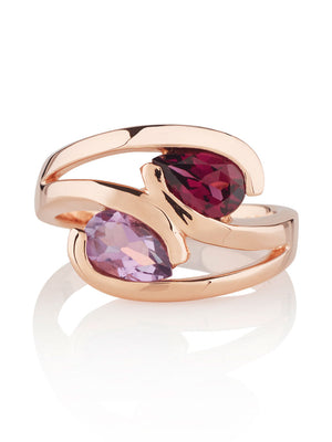 Love Birds Rose Gold  Ring with Amethyst and  Rhodolite