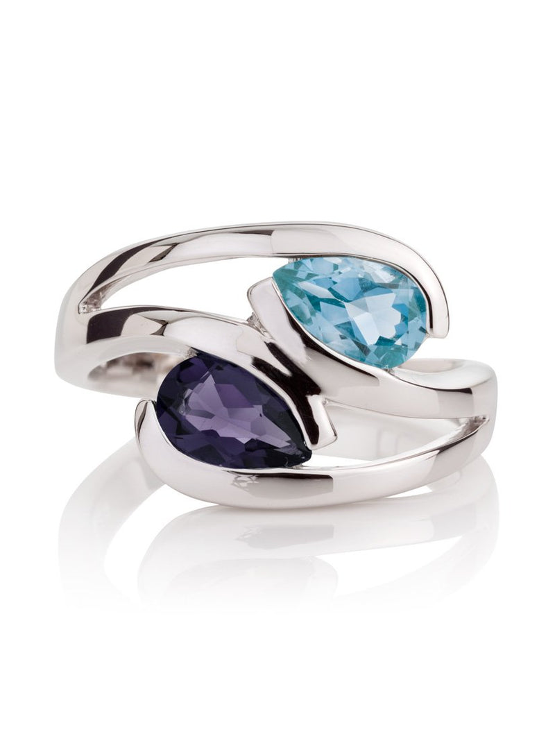 Love Birds Silver Ring with Blue Topaz and Iolite