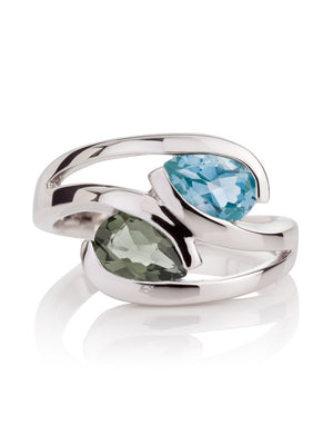 Love Birds Silver Ring Green Amethyst and Blue Topaz