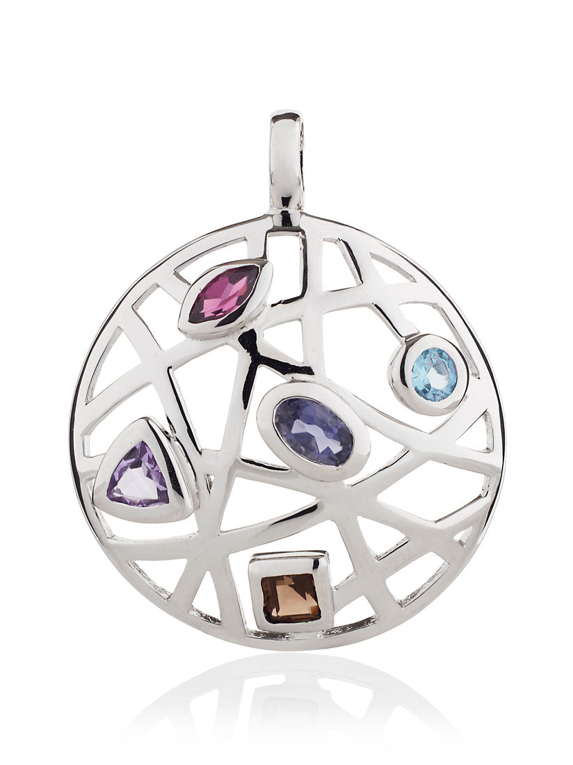 Maora Flat Silver Pendant With Blue Topaz Iolite Rhodolite  Amethyst And Smoky Quartz
