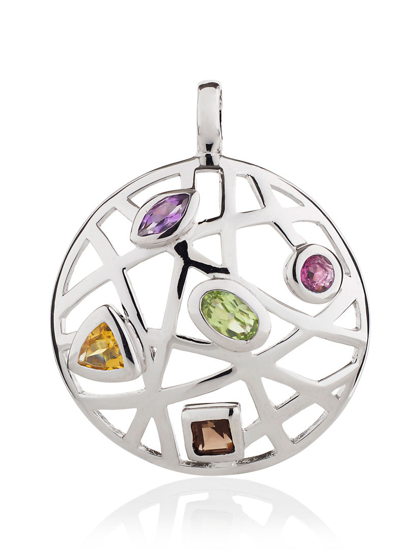 Maora Flat Silver Pendant With Rhodolite  Peridot  Smoky Quartz  Citrine And Amethyst