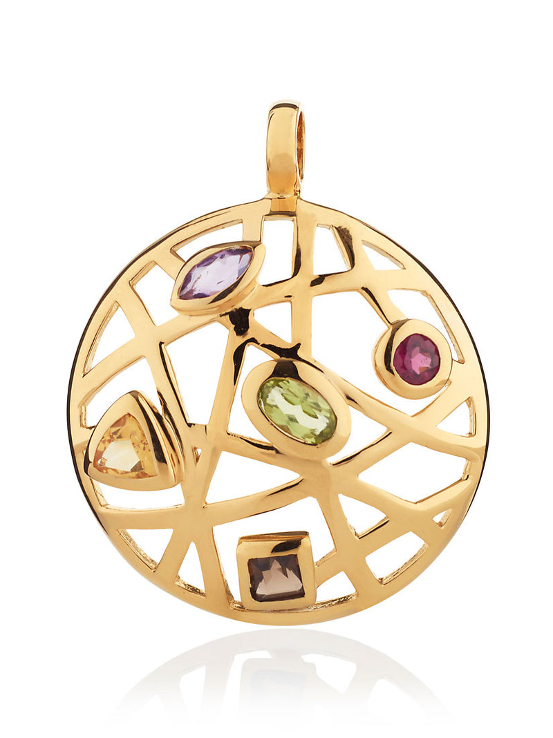 Maora Flat Gold Pendant With Rhodolite  Peridot  Smoky Quartz  Citrine And Amethyst