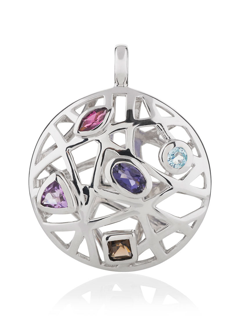 Maora Silver Pendant With  Blue Topaz  Iolite Rhodolite  Amethyst And Smoky Quartz