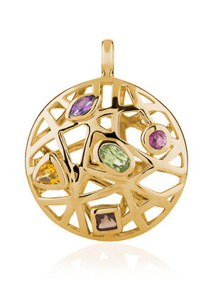 Maora  Gold Pendant With Rhodolite Peridot  Smoky Quartz  Citrine And Amethyst