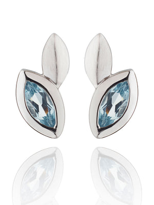Nara Silver Earrings With Blue topaz