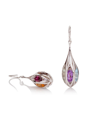 Riana Rhodium Silver Earrings with Green Amethyst  Amethyst Garnet Citrine Blue Topaz And Smoky Quartz