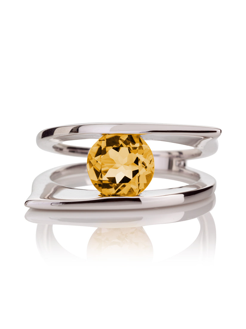 Romance Silver Ring With Citrine