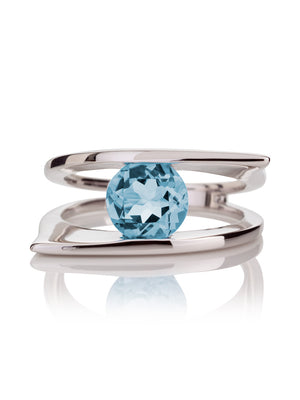 Romance Silver Ring With Blue topaz