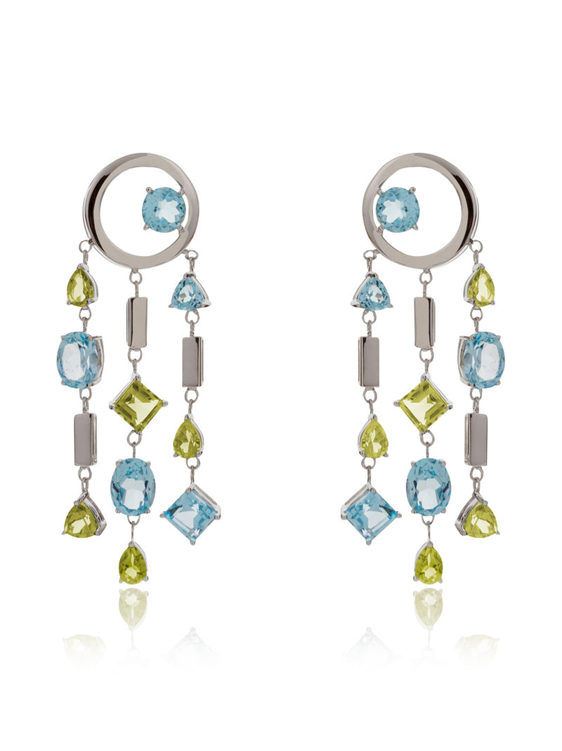 Selatra Silver Earrings With Blue Topaz and Lemon Quartz
